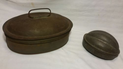 Antique Vintage Pudding Molds Lot 2 Oval 1 Kreamer Melon Plum Pudding