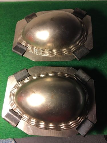 SET OF TWO VINTAGE CHOCOLATE MOLD EASTER EGGS 6 INCH WITH CLIPS WAVEY SIDES