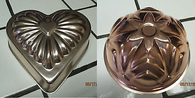 2 Copper jello molds - 1 heart shaped , 1 round