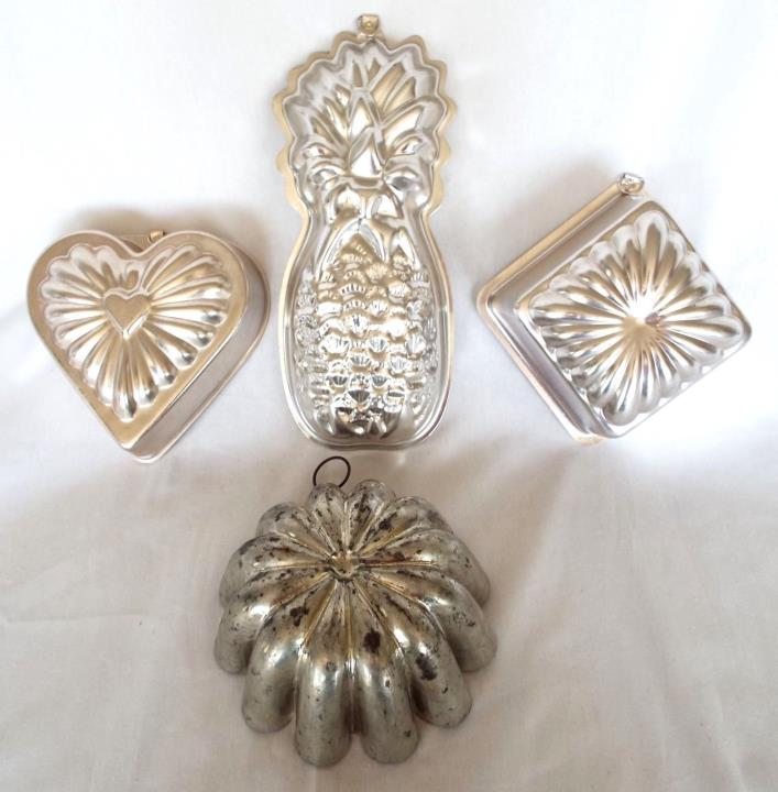 4 Vintage Metal Baking Molds Aluminum Jello Molds Wall Art Germany Japan
