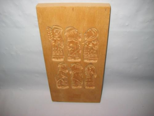 Vintage / Antique 6 Character Hand Carved Wooden Folk Art Dutch (?) Cookie Mold