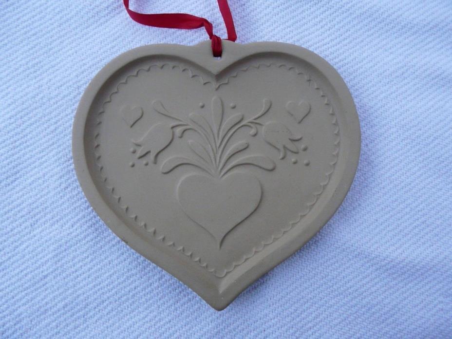 Brown Bag Cookie Art FOLK ART HEART Stoneware Mold Shortbread 1986 Tulips
