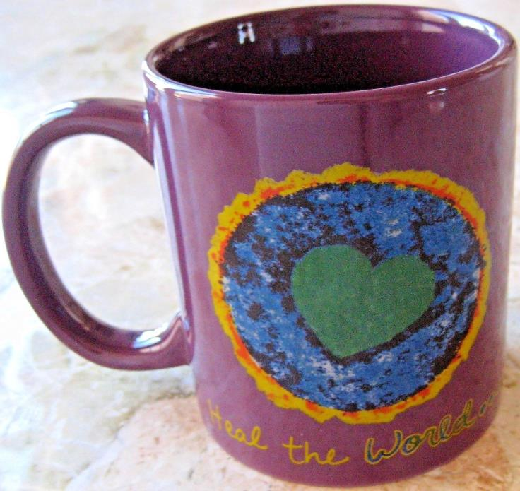 Penzeys Spices Ceramic Coffee Tea Mug 12 oz Purple Cup Tie Dye Art Heart World