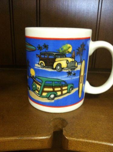 Hawaiian Woody Car Coffee Cup Mug Surfboard No.24082 Nice!!!! EUC