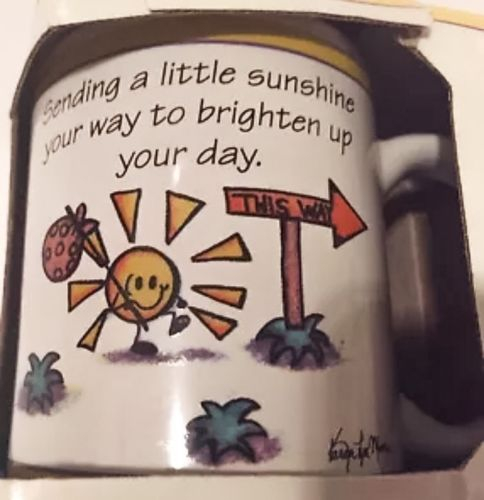 Encouragement Coffee Mug Cup Sending Sunshine Karen Lyn Morse 1998 Blue Mountain