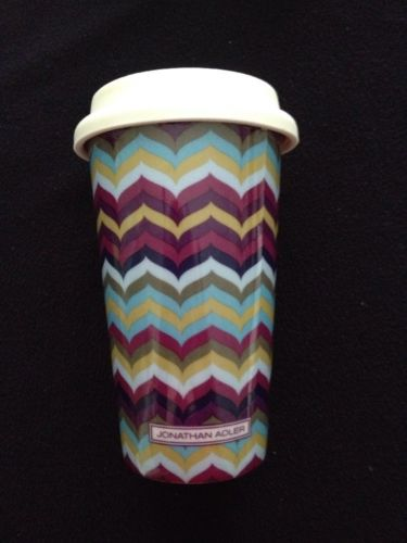 JONATHAN ADLER Missoni Style Chevron Zigzag Designer TRAVEL Coffee Tea Cup/Mug