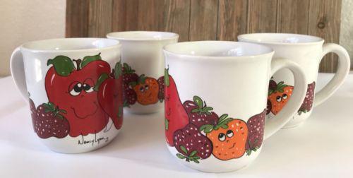 Vintage Nancy Lynn Orchard Apple Mug Set of 4 with Box #F3