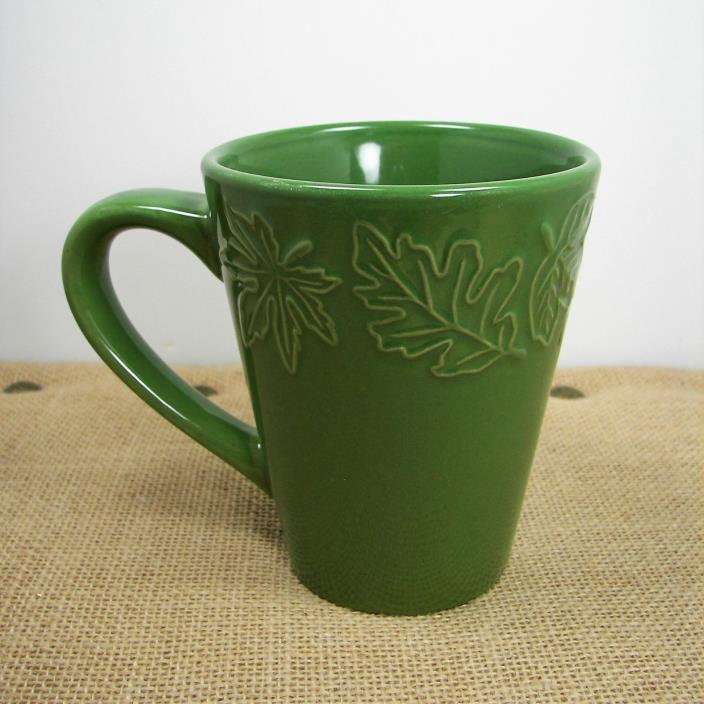 California Pantry Classic Ceramics Coffee Mug Tea Cup Green Embossed Leaves