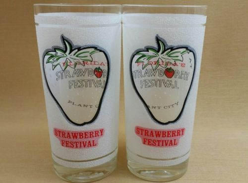 Strawberry Festival Plant City Florida drink Ware Glass Frosted Set of 2