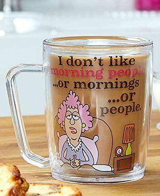 Aunty Acid Mug Don't Like Morning People Double Wall Coffee Clear Acrylic