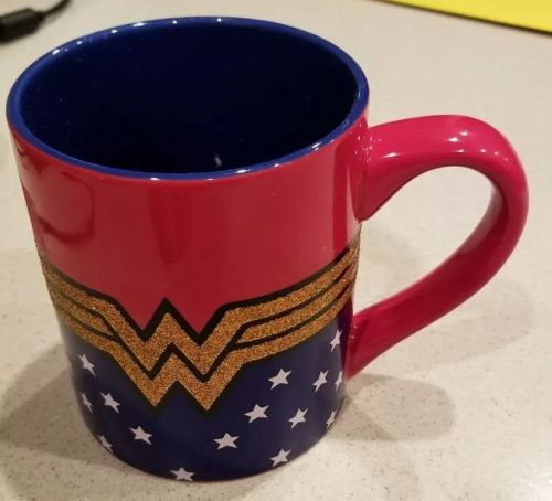 DC Comics Wonder Woman Logo Wrap Around with Stars Ceramic Glitter 14 OZ.Mug,