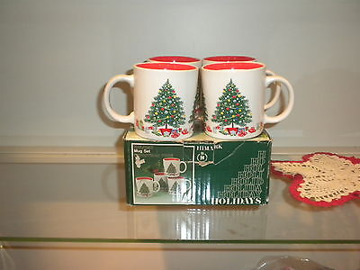 Mugs Christmas Tree HIMARK Coffee Tea Cups Set Of 4 Holiday 1980s  Japan VTG
