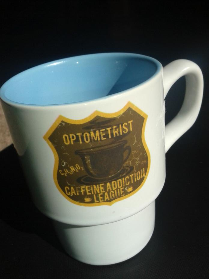 Orca Coating OPTOMETRIST CAFFEINE ADDICTION LEAGUE Funny Coffee Mug Signed ART