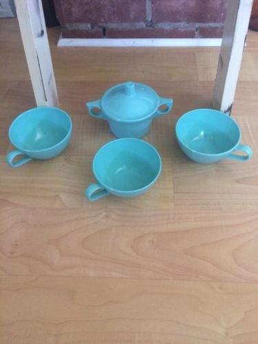 Vintage Turquoise Blue Retro Plastic Coffee Cup Set Made Of Lenotex