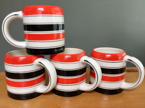 RARE Vintage Mid Century Hand Crafted Set 4 ERPHILA European Made Mugs #1457