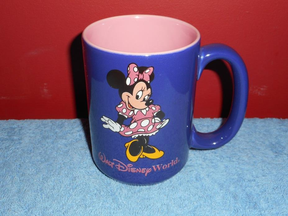 MINNIE MOUSE MUG Vintage WALT DISNEY WORLD SOUVENIR COFFEE MUG PURPLE & BLUE