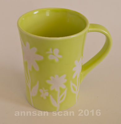 Starbucks Lime Green & white Floral mug ©2007 orig frm Canada  12 oz