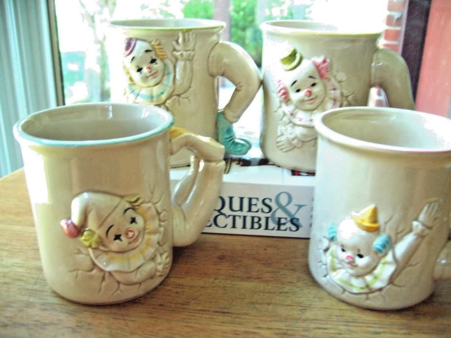 1979 Set of 4 Enesco Tumbling Clown 3D Coffee Mugs Cups