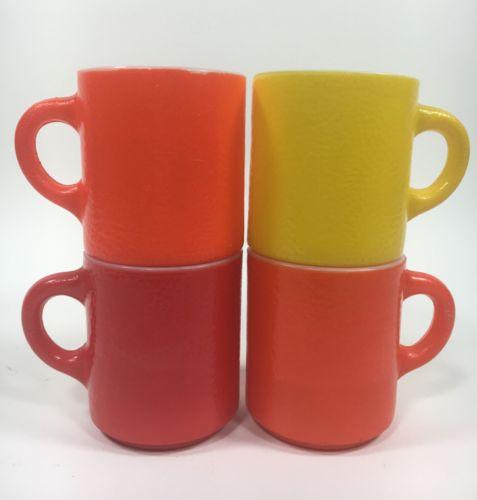 Vtg Milk Glass Coffee Mugs Orange Peel Texture Orange Red Yellow Bumpy