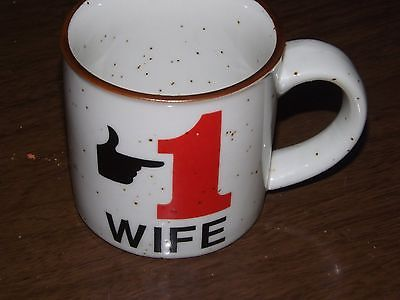 Vintage # 1 Wife Speckled Coffe Cup Mug Tea