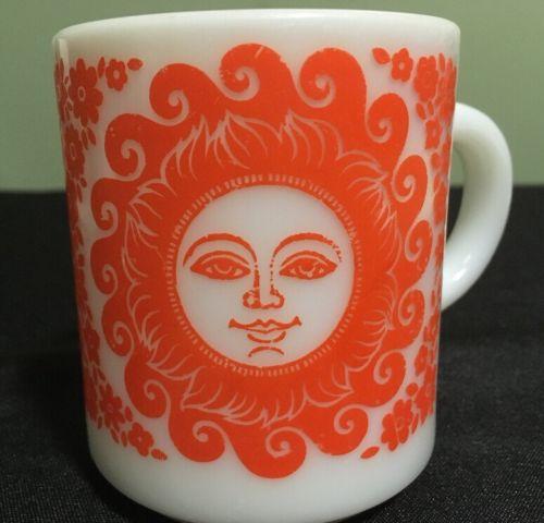 Vintage Milk Glass Orange Celestial Sun Face Coffee Mug Retro Cool