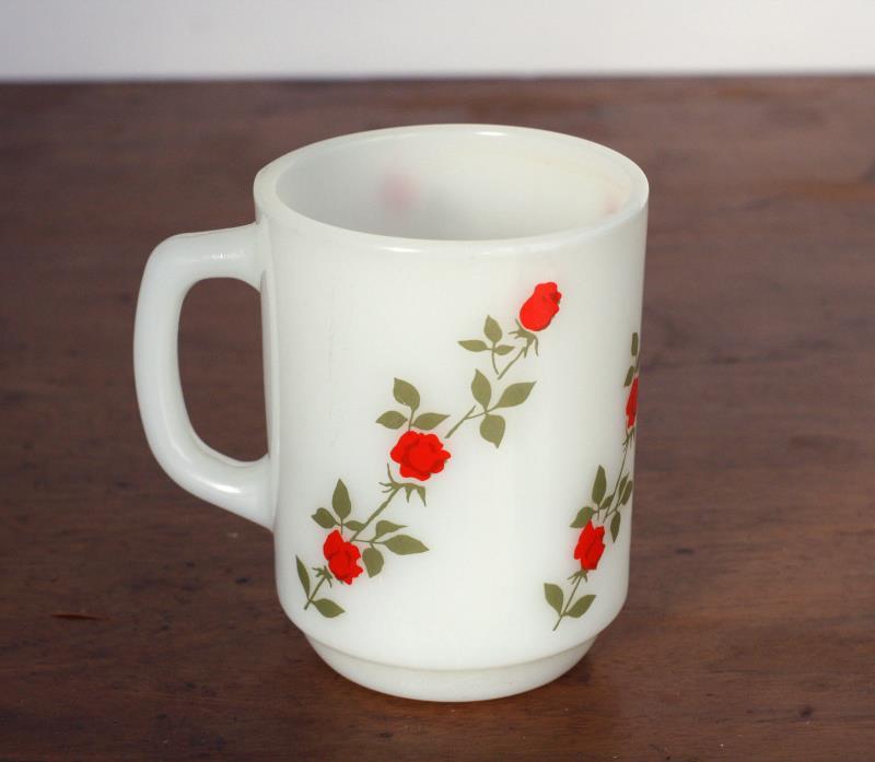Vintage Milk Glass Coffee Mug Tea Cup Roses Anchor Hocking