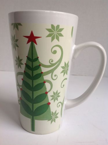 Large 14 oz. Coffee tea hot chocolate mug evergreen tree design