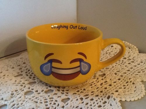 Emoji Yellow LOL Laugh Out Loud Cappuccino / Soup Mug 18oz