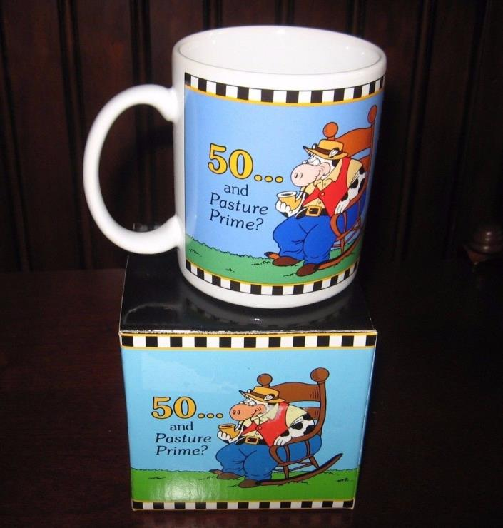 Pasture Prime 50th Birthday Coffee Mug Cup 50 and Pasture Prime PAPEL New in Box