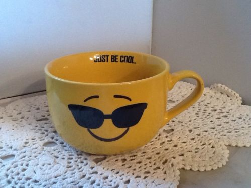 Emoji Yellow-Just Be Cool- Cappuccino / Soup Mug 18oz