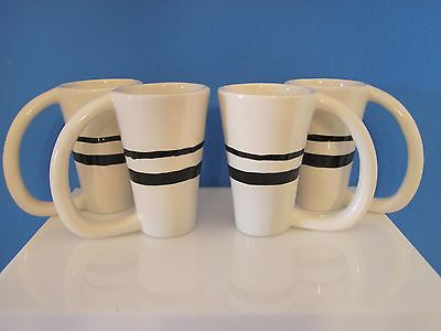 Set of 4 Tall Pottery Barn Black Striped Coffee Mugs, Made in Mexico, Long