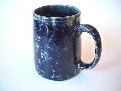 BENNINGTON POTTERY VERMONT COFFEE MUG  COBALT BLUE SPLATTER MARBLE