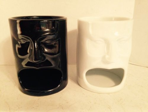 2 Black & White Tiki Coffee Mug Cup Open Mouth 10 oz BIA Cordon Bleu