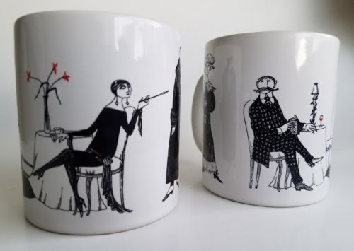 2 Pair Edward Gorey Mystery! Mug Dead Man PBS Masterpiece Theatre
