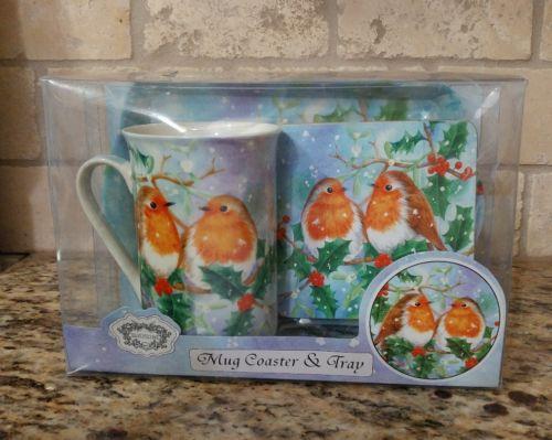 Kent Pottery Birds Love Birds Coffee Mug, Coaster and Tray Set NIB