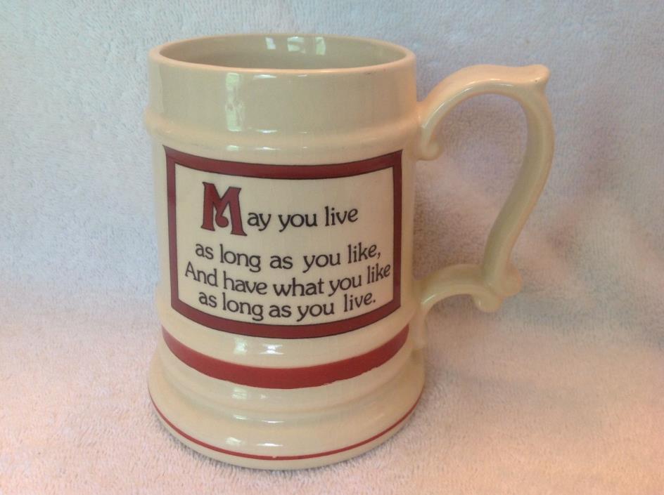 Mug,Tanker,Beer Stein,Insprational,Vintage,Toast of Good Cheer,16 Oz,Cermic,'70s