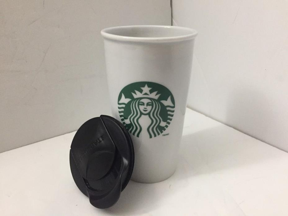 Starbucks Tall Cup Mug No Handle Green Mermaid Logo 2011 With Black Top 12oz.