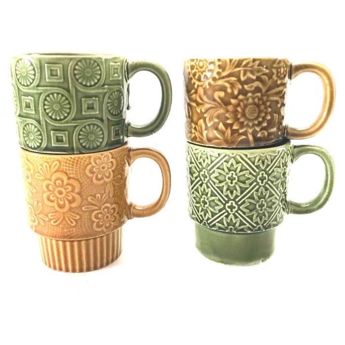 Vintage 4 Stackable Stacking Coffee Mug Cup Japan Brown Green Drip Glaze 8oz