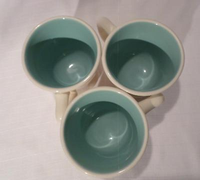 Set of 3 Genuine Taylor Mugs - Made in the USA - White with Turquoise Interior