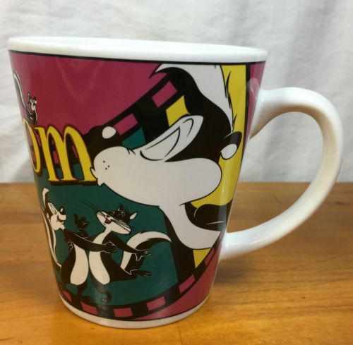 Warner Bros Pepe La Pew MOM Coffee Tea Mug Film Strip Love 1999 Cartoon Cat