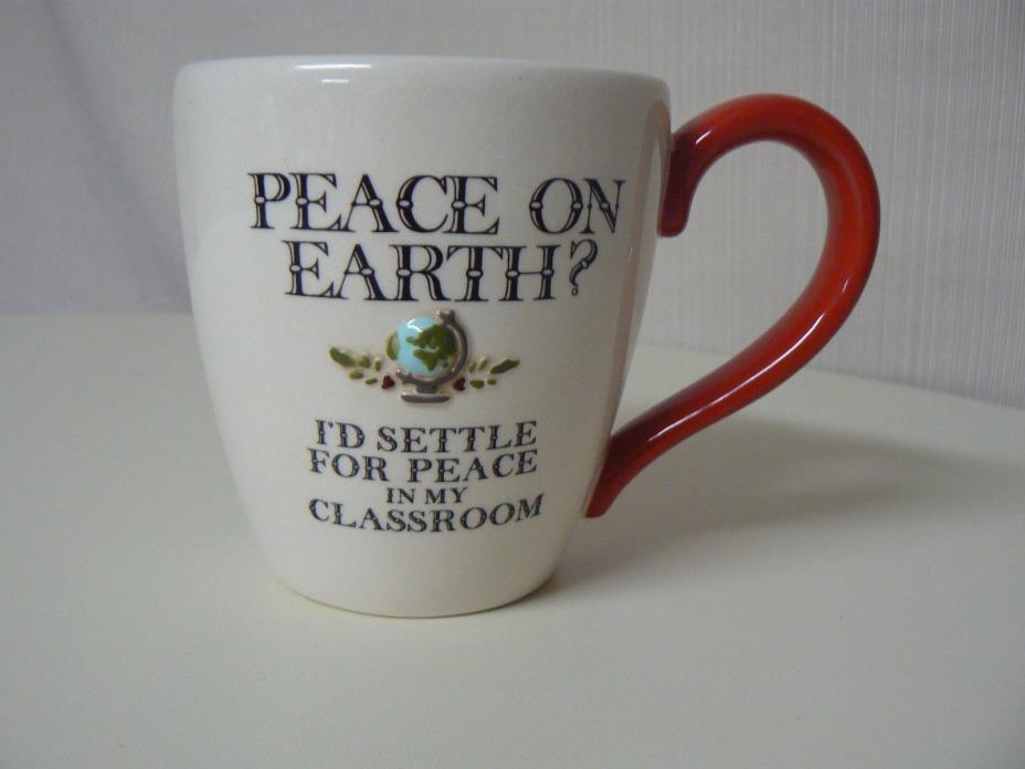 Amscan PEACE ON EARTH MUG I'd Settle For Peace in My Classroom Teacher Gift
