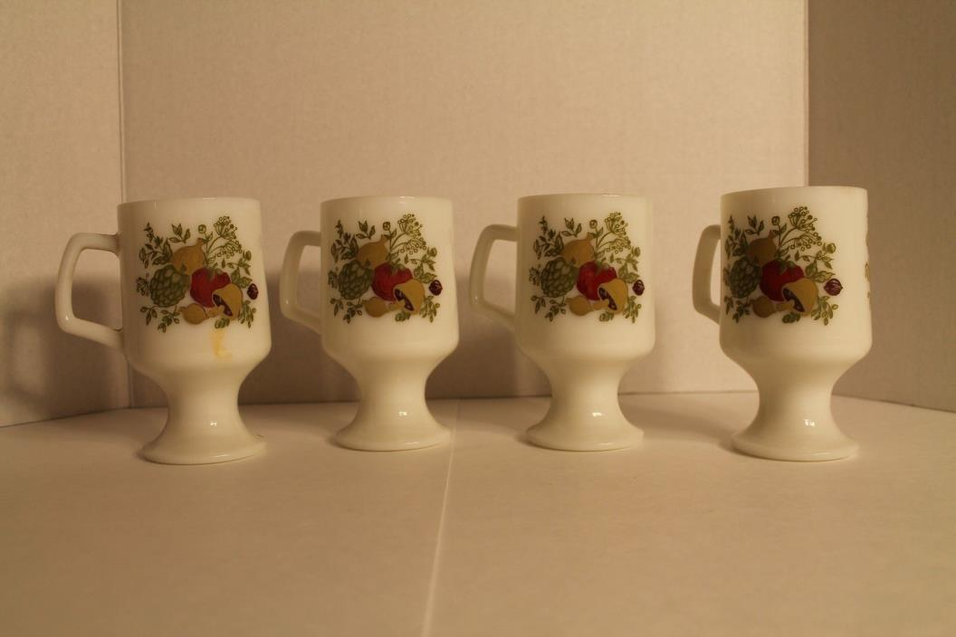 Lot of 4 vintage pedestal milk glass coffee mugs mushroom print