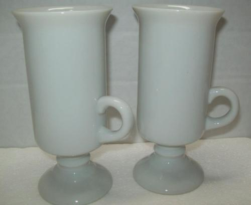 SET 2 IRISH Coffee WHITE PEDESTAL LATTE ESPRESSO MUGS CUPS CAFFEINE JAVA JOE