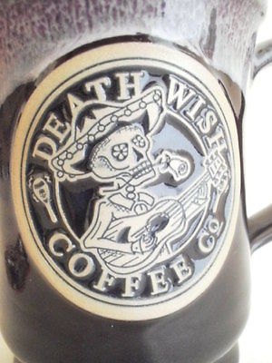 Death Wish Coffee Mug Day Of The Dead Deneen Pottery Cup # 1051 / 3500