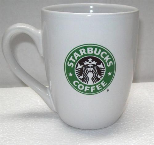2008 STARBUCKS 10.2 oz  White China Tapered  Mug COFFEE / LATTE CUP Mermaid LOGO