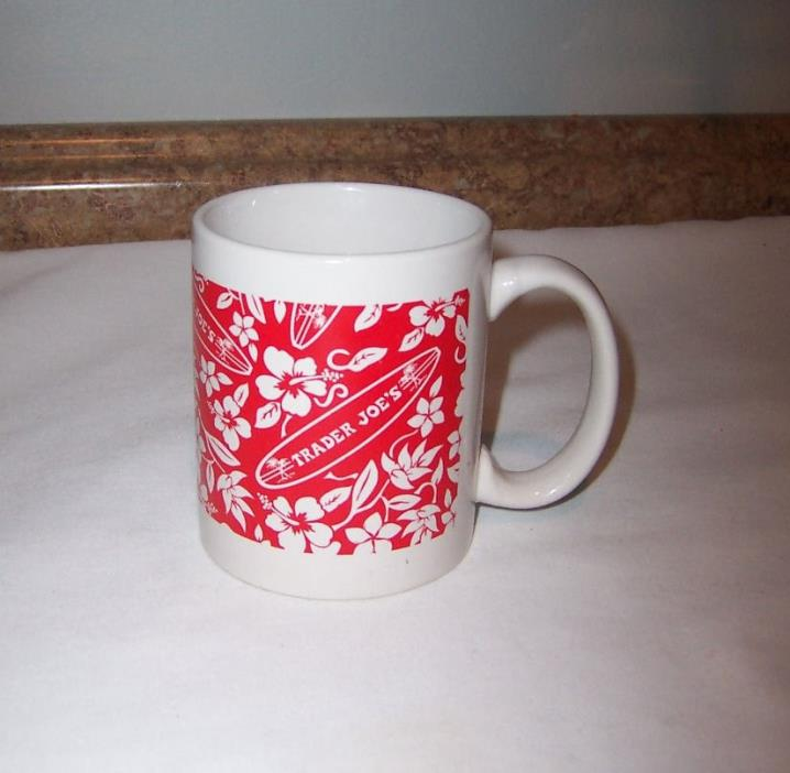 Trader Joes White W/Red Floral Surfboard Design Coffee Cup Mug