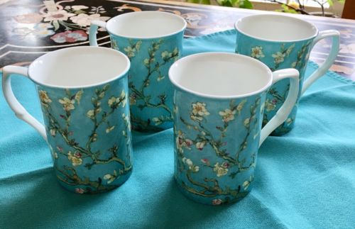 4 (Four) STECHCOL GRACIE Van Gogh Almond Blossoms  Bone China Cylinder Mugs