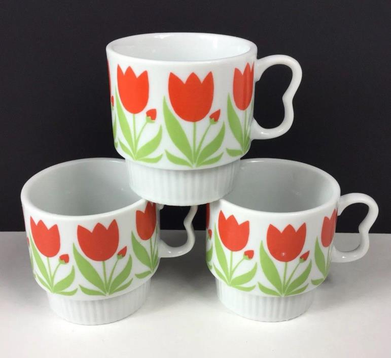 Set of 3 Vintage Floral Flower Tulip Stackable Coffee Mugs Cups Japan Vintage