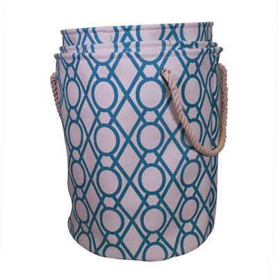 JIA Home Laundry Hamper with Rope Handles - Set of 3, Blue / White