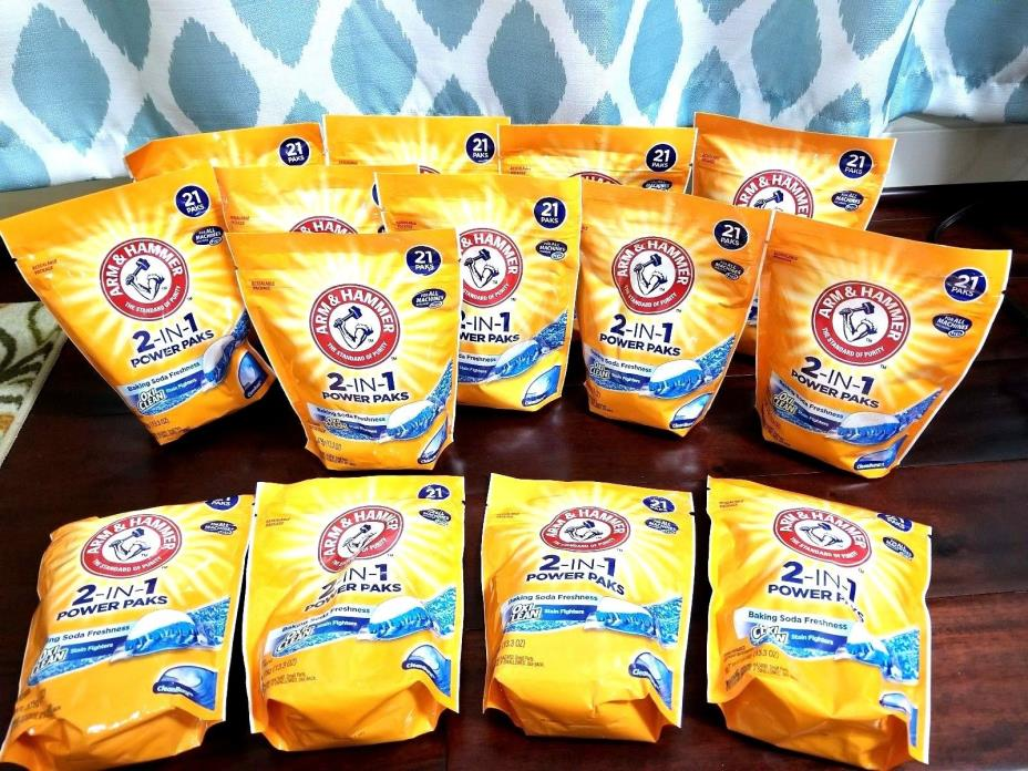 Arm & Hammer Oxi Clean 2-in-1 Power Paks ( Lot of 14 Packages )